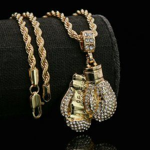 """14k Gold Boxing 24"""" Rope Chain + Pendant"""